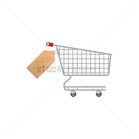 Hypermarket : Shopping cart with discount tag