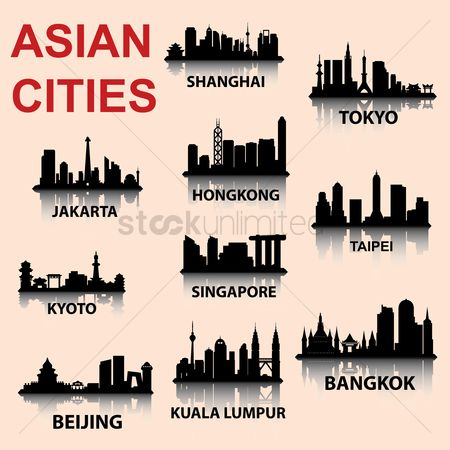 Building : Silhouette background of asian cities