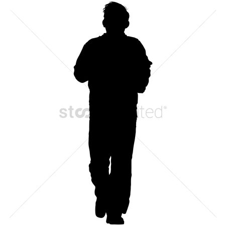 Strength exercise : Silhouette of a man jogging