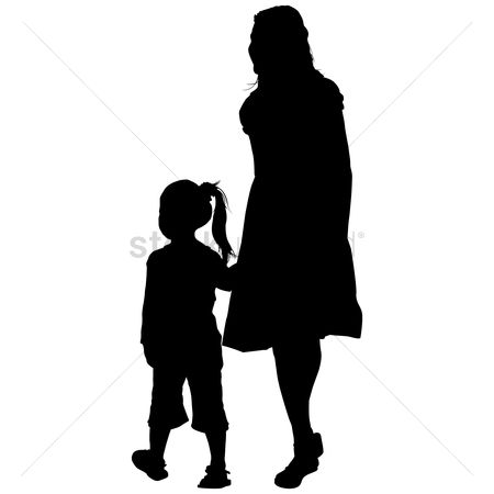 Toddler : Silhouette of a mother and daughter