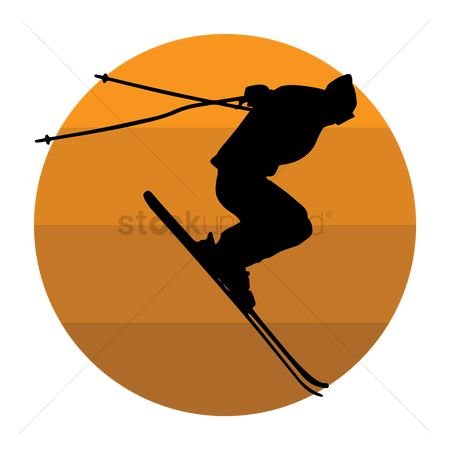 Skiing : Silhouette of a skier