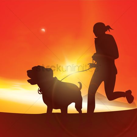 Sunray : Silhouette of a woman jogging with dog