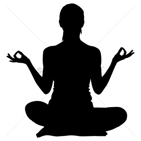 Lady : Silhouette of a woman practicing yoga