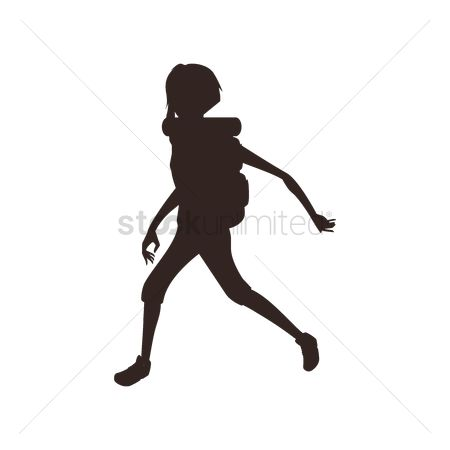 Hikers : Silhouette of a woman trekking