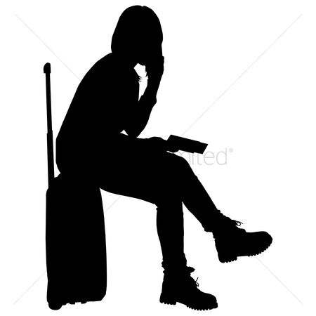 Calling : Silhouette of a woman with suitcase