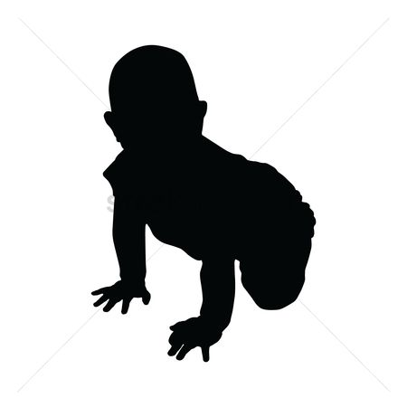 Cutout : Silhouette of baby crawling