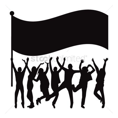 Cheering : Silhouette of crowd with flag