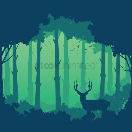 Backdrops : Silhouette of deer and forest background design