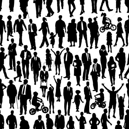 Wallpaper : Silhouette of different types of people