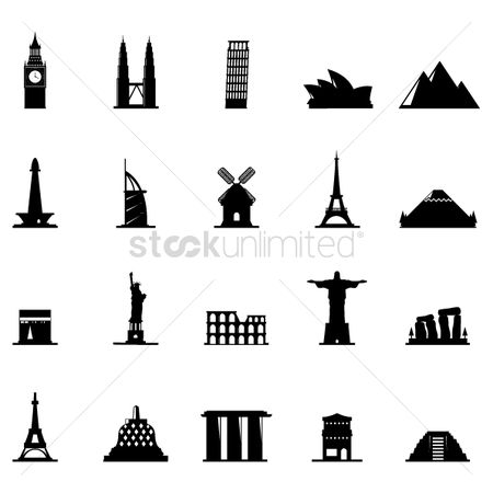 Statues : Silhouette of famous landmarks