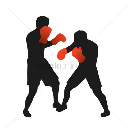 Boxing glove : Silhouette of men boxing