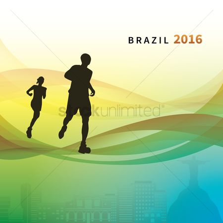 Athletes : Silhouette of runners