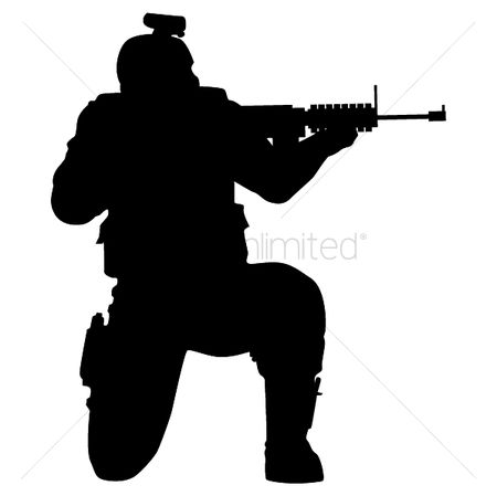 Soldiers : Silhouette of soldier shooting with gun