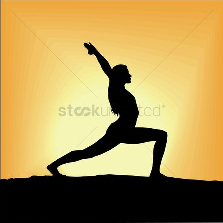 Health : Silhouette of woman exercising during sunrise