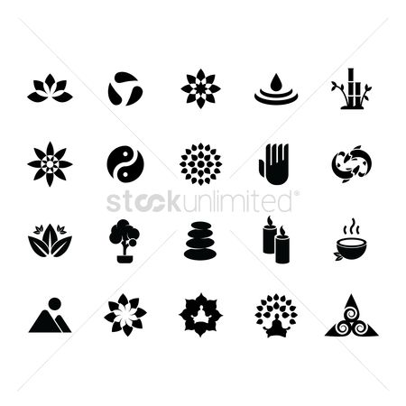 Mountains : Silhouette of zen icon set
