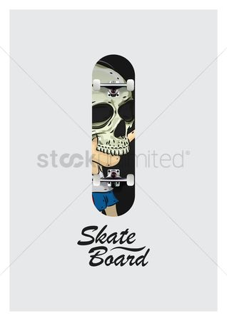 Skateboard : Skateboard design with skull