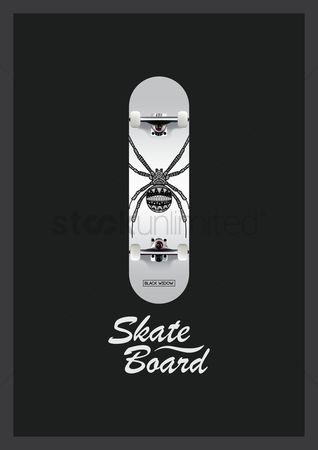 Skateboard : Skateboard with spider design