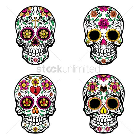 Decorations : Skull with floral designs