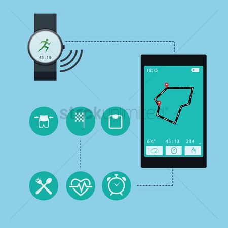 Wristwatch : Smart phone and watch health concept