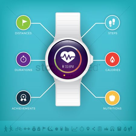 Wristwatch : Smart watch health and fitness concept