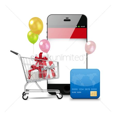 E commerces : Smartphone with cart and cash card