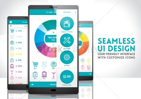 User interface : Smartphone with seamless ui design