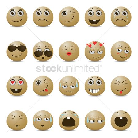 Joyful : Smiley emoticons in various expressions