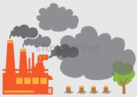 Pollutions : Smoke from factory and deforestation