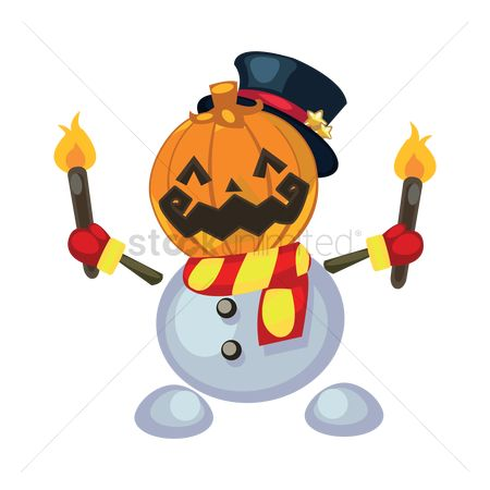 Mitten : Snowman with pumpkin mask holding torches