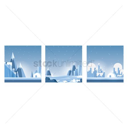 Vectors : Snowy mountains collection