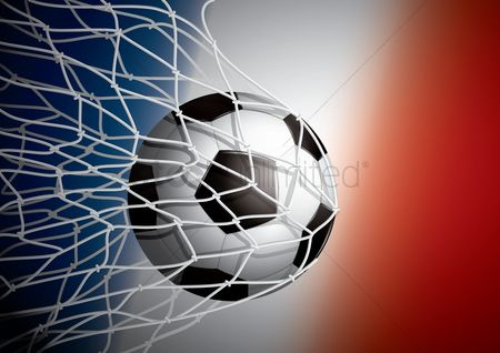 Soccer : Soccer ball in goal net