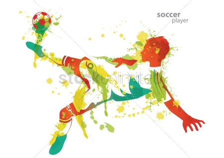 Soccer : Soccer player kicks a ball