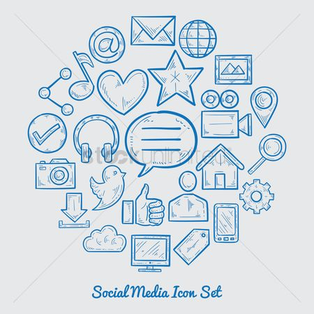 Communication : Social media icon set