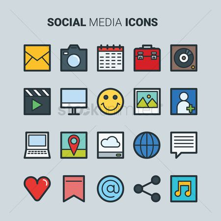Communication : Social media icons set