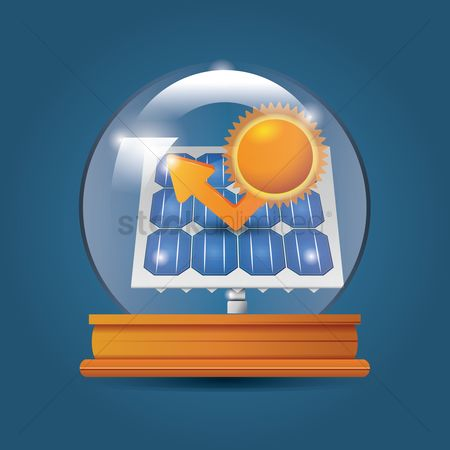 Charging icon : Solar panel in crystal ball