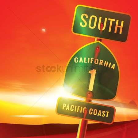 America : South california route 1 pacific coast sign