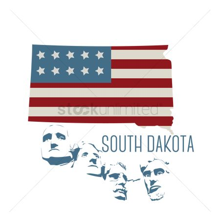 Dakota : South dakota state map with mount rushmore