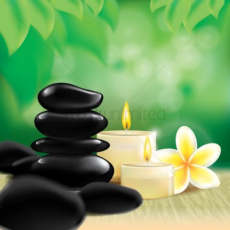 Zen : Spa stones with candles