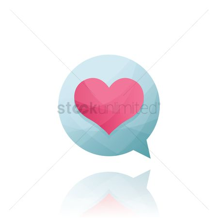 Heart : Speech bubble with heart inside