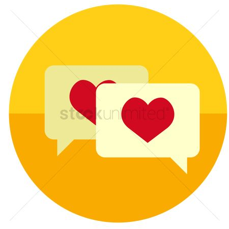 Love speech bubble : Speech bubbles with heart inside