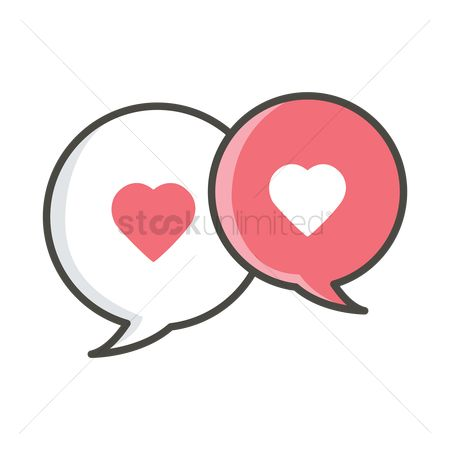 Love speech bubble : Speech bubbles with heart shapes