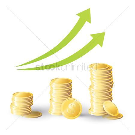 Profits : Stacked coins in the form of a graph