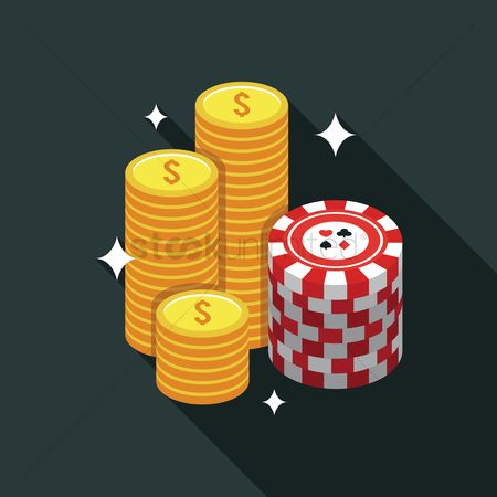 Poker chips : Stacks of gold dollar coins and poker chips