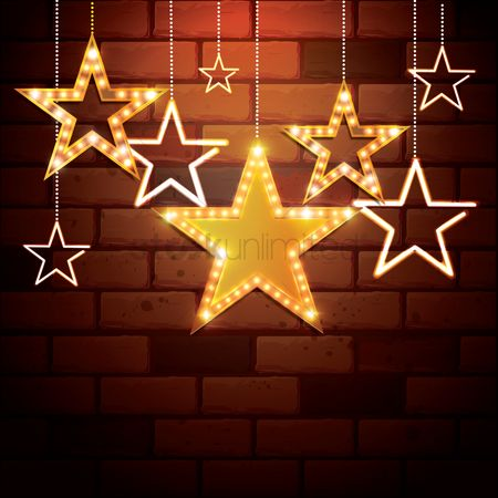 Brick : Star shape hangings on bricks wall background