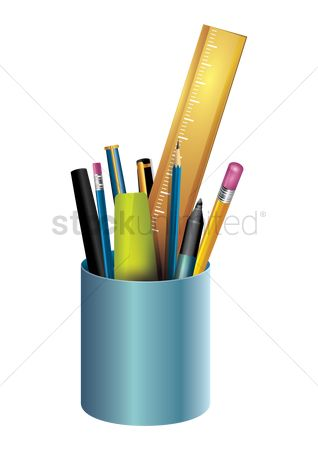 Highlighters : Stationery in a pen holder