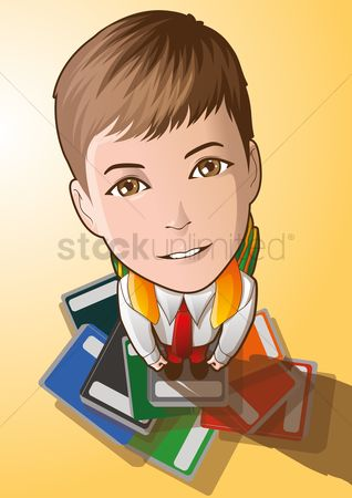 School bag : Student looking up while standing on a pile of books