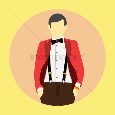 Man suit fashion : Stylish man in bow tie and hot red jacket
