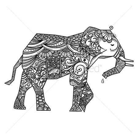 Linear : Stylized elephant design