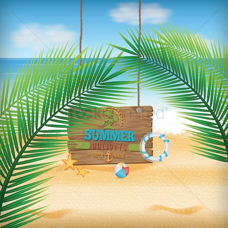 Wooden sign : Summer background