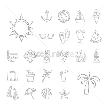 Lighthouses : Summer beach icon set